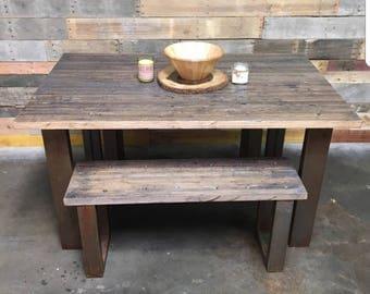 Modern Reclaimed Oak Dining Set