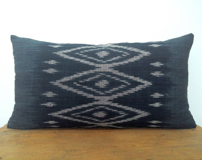 Beautiful Handwoven Indigo Pillow Cover / Gorgeous Hill Tribe Ikat Fabric Pillow Case / Bohemian Tribal Handmade Costume Textile