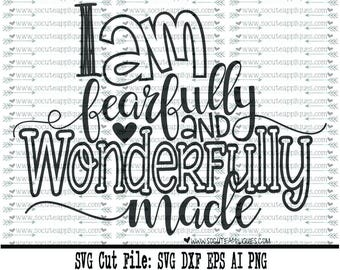 New baby SVG, Fearfully & wonderfully made svg, Christian svg, cross svg, miracle svg, religious svg, socuteappliques, scrapbook file