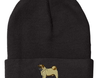 Pug Embroidery Embroidered Beanie Skully Hat Cap  (BNANMDG0124)