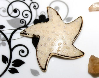24Kt Gold Electroplated White Bone Hand Carved Star Fish Pendant, Gold Electroformed Carved Bone Star Fish Pendant BON29