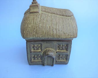 Charmouth Pottery miniature stoneware Thatched Roof House Trinket Pot
