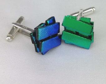 Green-Dichroic glass cufflinks - Silver Plated