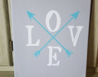 Canvas home decor, love wall decor, arrow decor