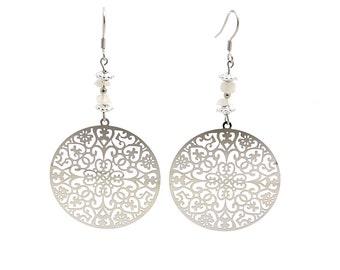 Women jewelry, rainbow moonstone earrings, boho bohemian jewely, dangle earrings, silver jewelry, white crystal earring bohemian earring cyl