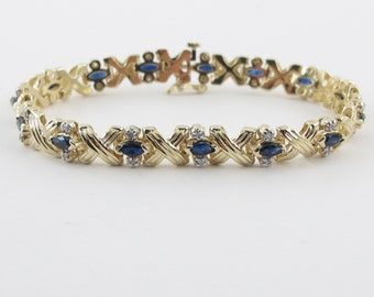 "14k Yellow Gold Diamond And Sapphire Bracelet, 14k Blue Sapphire Tennis Bracelet 7""  2.00 carats"