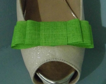 Handmade Lime Green Faux Hessian Triple Bow Shoe Clips