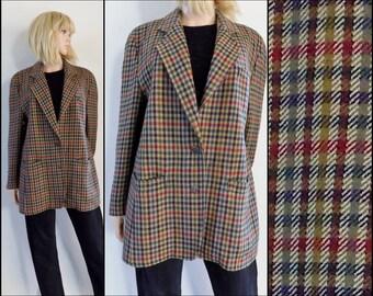 Womans oversized plaid jacket blazer uk14 usa12 brown check wool jacket size medium