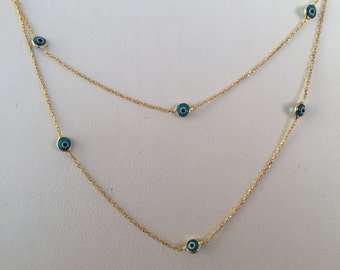 evil eye double chain necklace in real gold plated sterling silver to make a special statement with this exclusive design