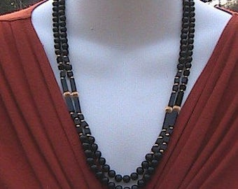 14k Yellow Gold Double Strand Black Onyx Necklace