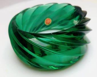 West German lucite green bangle bracelet