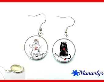 Cats, mi-ange, half-demon, glass cabochons earrings