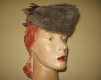SALE! 1940's Gray Felt and Natural Fur Garrison Cap with Bird!