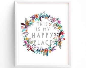 Printable Quotes, Printable Art, Wall Art, Instant Download Print, This Is My Happy Place, Craft Room, Office, Workspace