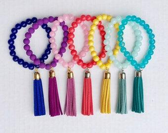 Tassel bracelet, beaded tassel bracelet, pink tassel bracelet, coral tassel bracelet, yellow tassel bracelet, black tassel bracelet