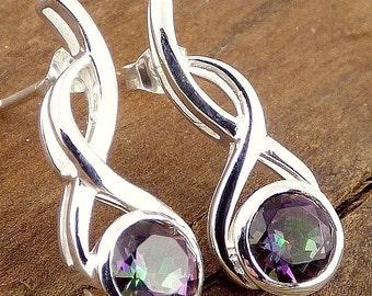 JEWEL QUARTZ MYSTIC, Mystic quartz, mystic quartz jewels studs earrings, gh41