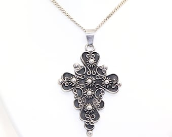 "Sterling Silver CROSS Pendant on 23"" silver chain Mexico TM-41 Fully Hallmarked London 1993"