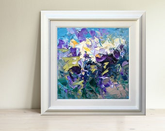Abstract Pansy Painting Oil Painting on Canvas Flowers Painting Original Fine Art Impressionist Art Floral Painting Romantic Art Wife Gifts