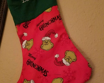 Dr Seuss Grinch Personalized Christmas Stocking, grinch embroidered stocking, unisex stocking, merry grinchmas stocking stuffers holidays