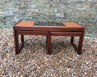 1960s mid century Danish Rosewood and teak long nest of tables Danish glass coffee table rosewood nesting tables Danish nesting tables