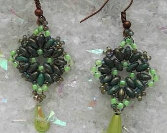 Green 🌲 mandala earrings