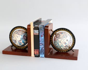 Globe bookends wooden book ends vintage sixties woodwork steam punk earth cd holder world gift for him geography map terrestrial