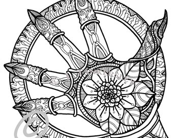 gothic wheel - Gothic Coloring Book