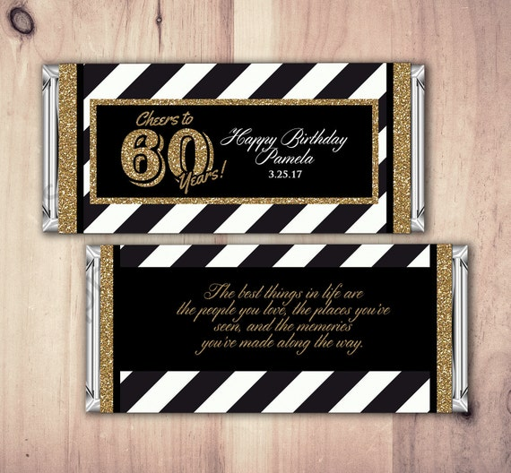 Any Age Birthday Candy Bar Wrappers Gold Silver