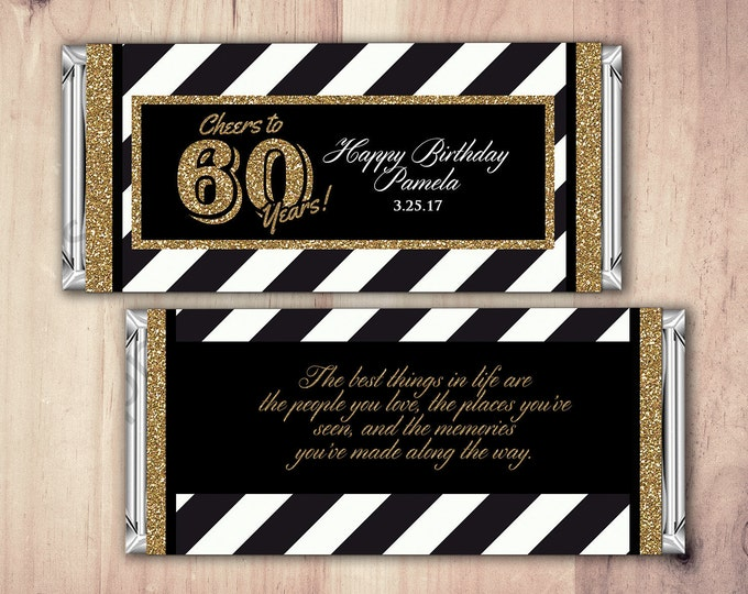 ANY AGE, Birthday, Candy Bar Wrappers - Gold, Silver Cheers, 30th, 40th, 50th, 60th, 70th, 80th Any Age, vintage, aged to perfection