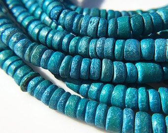 Turquoise Blue Coco Beads, Dyed Natural Coconut Shell Beads, Turquoise Color Coco Beads, 4-5mm in diameter - 100 beads (WS-34)