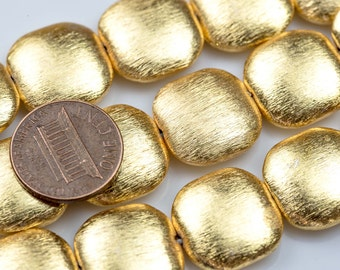 Brushed Gold Copper Beads- Puffy Coin- 8 Inch Strand-  12 pieces per Strand