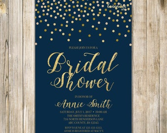 NAUTICAL BRIDAL SHOWER Invitation, Navy Blue Gold Confetti Couples Shower Invite, Printable Wedding Shower, Navy Bridal Brunch Tea LA20