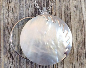 Magnifying Glass Necklace with Sterling Silver and Mother of Pearl