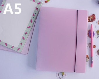 A5 plastic cover with elastics pink