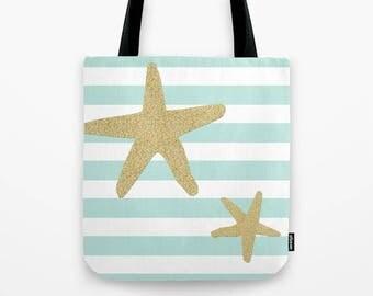 Star Tote Bag Nautical Striped Black White - 13x13 16x16 18x18 Beach Ocean Gift for Woman Everyday Beach Design Sailor Boat Shopping Market