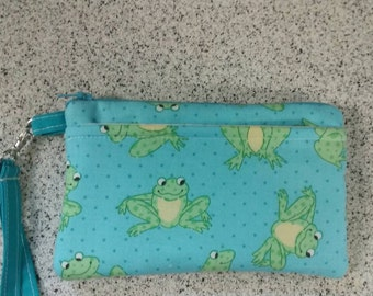 Handmade Cute Frog  Design Print Wallet Wristlet Phone Case with strap