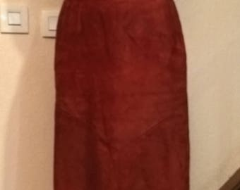 Vintage red suede skirt