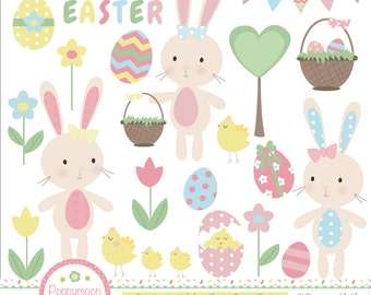 Happy easter, bunnies and flowers, printable digital clipart set.