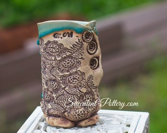 Succulent Pottery, Handmade Pottery, Lacy Pottery, Grow Succulents, Planter, Garden Pottery, Handmade