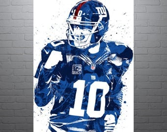 Eli Manning New York Giants Sports Art Print, Football Poster, Kids Decor, Watercolor Contemporary Abstract Drawing Print, Modern Art