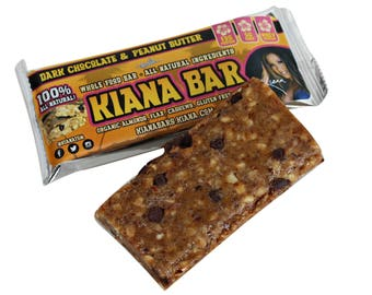 Box of 12 Kiana Bars 100% All Natural Whole Food Bars Delicious Dark Chocolate & Peanut Butter Protein Healthy Energy Snacks Family