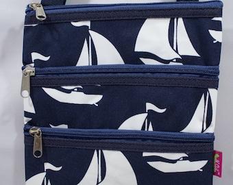 Sailboat-Sailing-Boat-Cross Body Purse-Messenger Bag-Purse-Tote-Travel-Luggage