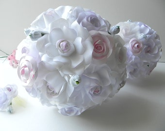 White and Pastel Rose Wedding Bouquet and Groom Boutonniere, Alternative Bouquet, Bridal Bouquet, Wedding Flowers, Roses flowers, bridesmaid