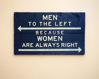 Men To The Left Because Women Are Always Right | Wood Bathroom Sign | Cream on Navy
