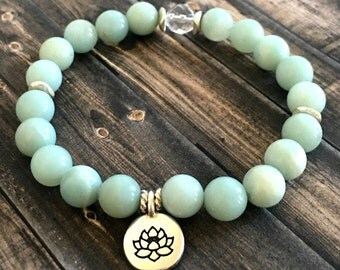Amazonite Crystal Quartz Silver Lotus  Bracelet, Yoga Bracelet, Healing Crystals, Positive Energy Bracelet, Gifts for Her, Wellness Bracelet