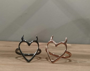 Tainted Heart Ring  *Robyn Chaos Jewellery* Valentines, Occasion, GF, Love, Lil Devil, Gold/Silver/Black Gun Metal