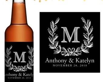 Wedding Beer Label - Custom Beer Label - Personalized Beer Label - Wedding Beer Bottle Label - Monogram