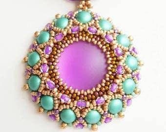 Purple necklace, purple pendant, elegant, bijoux, beaded necklace, Mother's day gift, Christmas gift, handmade jewelry, handcraft. .