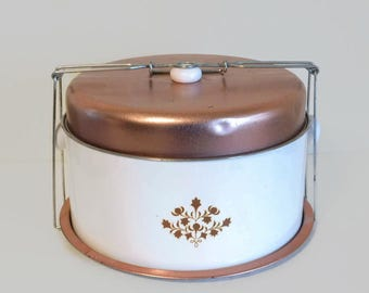 Vintage White & Copper Colored Metal Cake/Pie Carrier With Locking Lid - Vintage Cake Carriers, Cake Covers, Pie Keeper