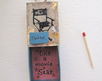 Gifts for actors, Cinema home decor, Retro home decor, Shine like a movie star, movie quotes, directors chair, Matchbox art, Diorama